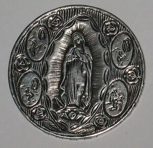 Exceptional Hand Engraved 1950's Mexico 5 Silver Peso Piece Virgin Mary Artwork