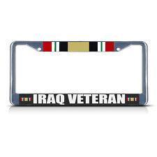 IRAQ VETERAN MILITARY Chrome Metal Heavy License Plate Frame Tag Border