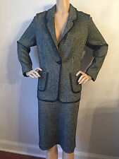 NEW ST JOHN KNIT 16 WOMENS SUIT JACKET & SKIRT BLACK & WHITE TWEED LEATHER TRIM