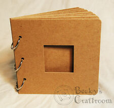 """5.5""""x5.75"""" Mini Chipboard Album 10 pages 3 rings w/ 2"""" square frame window"""