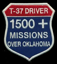 USAF T-37 Driver 1500 Missions Over Oklahoma Vance Patch J-1