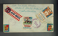 1949 Prague Czechoslovakia Postage due Cover CSR to USA with Cinderellas