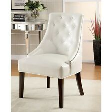 Modern White Faux Leather Accent Chair