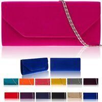 New Women Faux Suede Clutch Bag Bridal Envelope Ladies Evening Party Handbag UK
