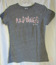 Detroit Red Wings Junior Fit Ladies Large T-shirt NEW sewn embroidered pink gray