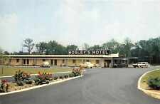 ROCKY MOUNT NC MOSLEYS SHADY LAKE MOTEL POSTCARD c1960s OLD CARS 57 CHEVY?