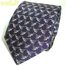 SALVATORE FERRAGAMO navy CIRCUS MONKEYS with BANANAS silk MENS tie NWT Authentic