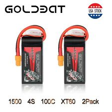 2X 100C 1500mAh 14.8V RC 4S Lipo Battery XT60 Plug For RC FPV  Helicopter Drone