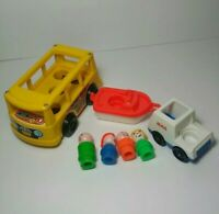 Vintage Fisher Price Little People Lot 1969 Mini-Bus Mail Truck Boat