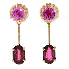 NEW 14k Rose Gold 6.01ctw Round Pink Sapphire GIA Oval Ruby Drop Dangle Earrings
