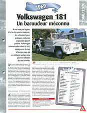 Volkswagen 181 1969 GERMANY ALLEMAGNE DEUTSCHLAND  Car Auto FICHE FRANCE