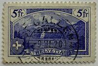 1914 SWITZERLAND 5 FR. STAMP #183 RUTLI LANDSCAPES, 1920 ST. GALLEN SON CANCEL