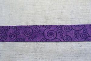 Cotton Bias binding- Purple swirls, 25mm, price per metre