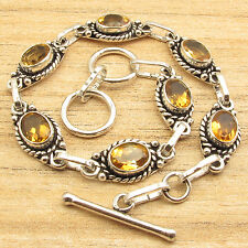 "Yellow Citrine Gemstone Bracelet ! Silver Plated Jewelry 7.9"""