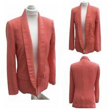 Warehouse Ladies Peach Coral Blazer Jacket Wedding Work Office Summer Size 12