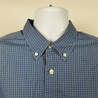Eddie Bauer Wrinkle Free Relaxed Fit Mens Blue Check Dress Button Shirt Sz Large