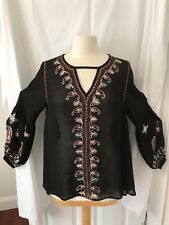 Ladys LOVE SAM Boho Peasant Blouse Sz M Black Embroided Gypsy Top Anthropologie