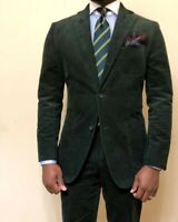 Green Men Corduroy Suit Luxury Prom Party Formal Groom Tuxedo Wedding Suit
