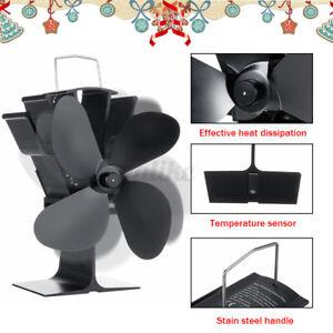Aluminum Stove Fan Top Wood Log Burner Heat Powered Ecofan Fireplace 4 Blades E