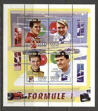 CHAD 2000, FAMOUS FORMULA 1 CARS DRIVERS, SOUVENIR SHEET OF 4, MNH