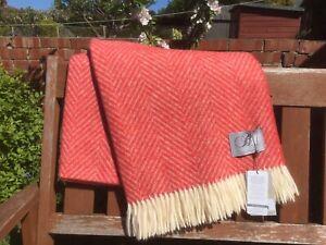 Bronte By Moon Shetland Herringbone Bright Orange Blanket Throw 100% Merino wool