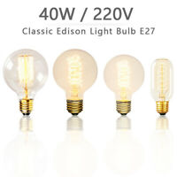 E27 40W Vintage LED Filament Glass Retro Edison Light Bulb Screw Hotel Cafe 2019