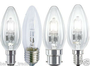 2 5 10 20 Halogen Candle BC SBC ES E27 SES 18W 28W 42W Energy Saving Light Bulbs