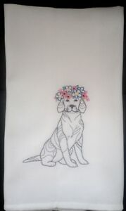 Puppy embroidered on cotton tea towel/dishcloth