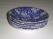 5 CALICO BLUE STAFFORDSHIRE COUPE CEREAL BOWLS CROWNFORD ENGLAND