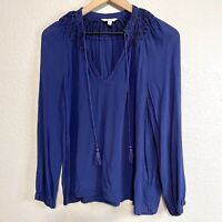 Lucky Brand Women's S Peasant Blouse Beaded Tassel Tie Top Blue