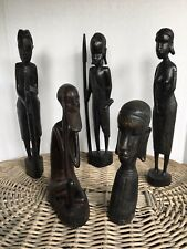 5 Hand-Carved African Native/Tribal Figures - Ebony Wood From Kenya