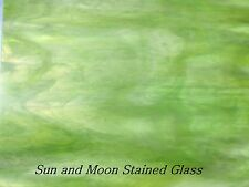 """8X10 Spectrum Stained Glass S6022-81Cc - Clear, White, Warm Greens, """"Key Lime"""""""