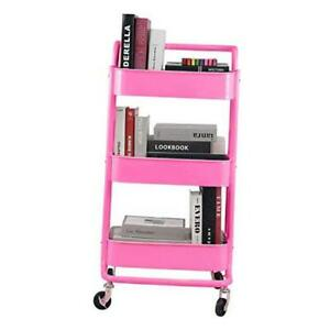 3-Tier Metal Mesh Rolling Cart Storage Organizer with Utility Handle A- Pink