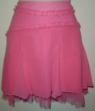 Bebe S Womens Pink 17 in. 100% Silk w/ Mesh Lining Trim Pleated Mini Skirt New