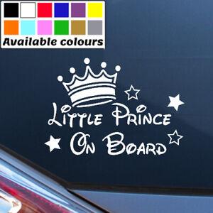LITTLE PRINCE ON BOARD PERSONALISED BABY CAR WINDOW BUMPER STICKER VINYL DECAL
