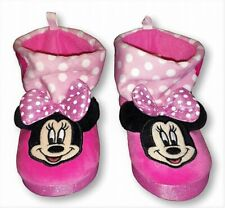 Disney Minnie Mouse Girls Plush Rubber Bottom Boot Slippers Toddler's Size 9/10
