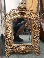 Circa 1890 American Art Nouveau Boy, Lion, and Floral Motif Gilt Metal Mirror