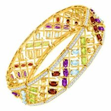 Natural Semi-precious Stone Bracelet in 18k Gold FLASHED & Silver-plated Brass