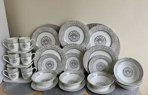 Versace Style Medusa Baroque Romany 24-Piece Porcelain Dinner Set 6 Person