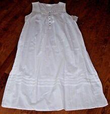 "NWT Eileen West White Cotton Lawn Nightgown Gown L 50"" SATIN Trim/Crochet DAISY"