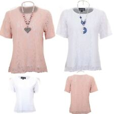 Ladies Floral Lace Overlay Lined Short Sleeve Plus Size Blouse Flared Top
