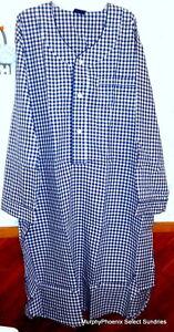 JB Cotton Broadcloth Cotton/Poly Nightshirt Navy Blue/White Check XL/2X OR 3X/4X