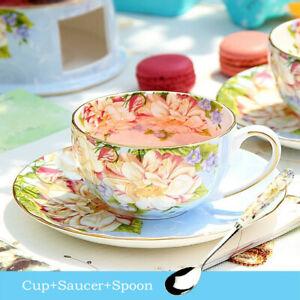Bone China Flower Tea Teacup with Saucer Afternoon Tea Teaware Gift Drinkware