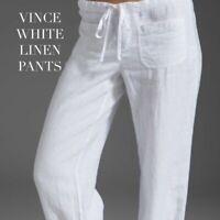 VINCE Linen Pants White Lightweight Women's Size Medium Short Vince. HW6148