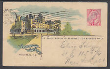 Canada H&G 24 used 1908 1c Place Viger Hotel PPC, Canadian Railway Company