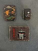ANTIQUE LOT OF 3 BEAUTIFUL CIGARETTE & MATCHES GIFT BOX / CASE, JAPAN