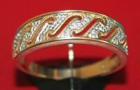 Secondhand 14ct yellow gold multi diamond band ring size T