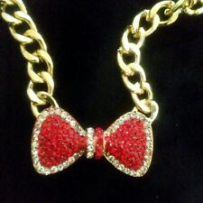 Red & Clear Rhinestone Bow Gold Tone Necklace