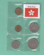 HONG KONG  MONETE 5 COINS SERIETTA DISCRETA  + BANDIERA OTTIMO PREZZO