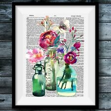 Floral Watercolor Chic Bohemian Country Modern Vintage Dictionary Poster Decor